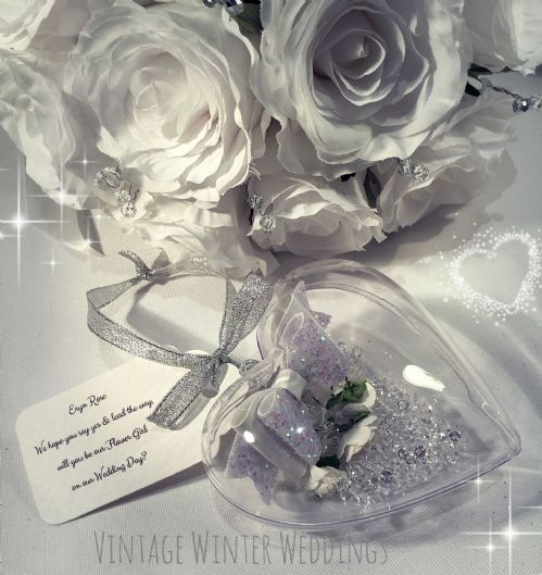 Flower girl heart bauble